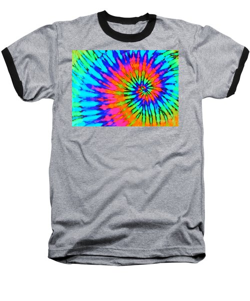 Orange Pink And Blue Tie Dye Spiral Baseball T-Shirt