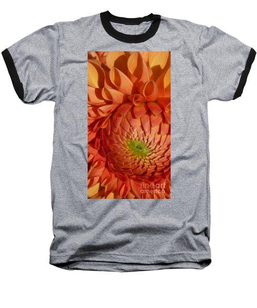 Orange Sherbet Delight Dahlia Baseball T-Shirt by Susan Garren