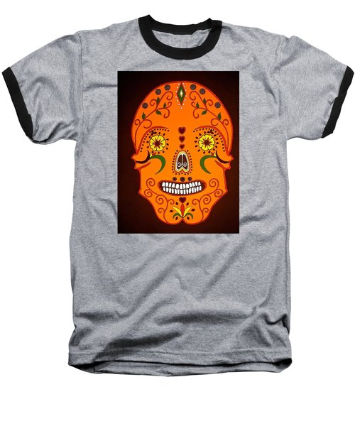 Orange Sugar Skull Baseball T-Shirt