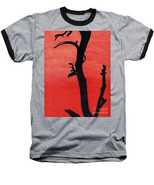 Baseball T-Shirt featuring the drawing Orange Sunset Silhouette Tree by D Hackett