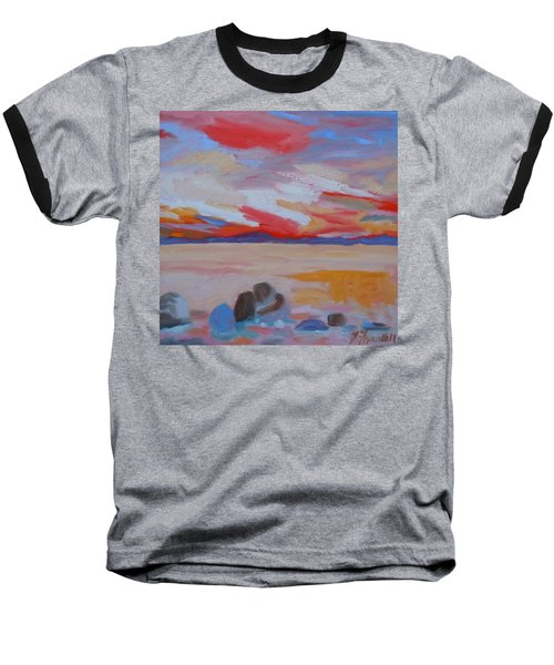 Baseball T-Shirt featuring the painting Orange Sunset by Francine Frank