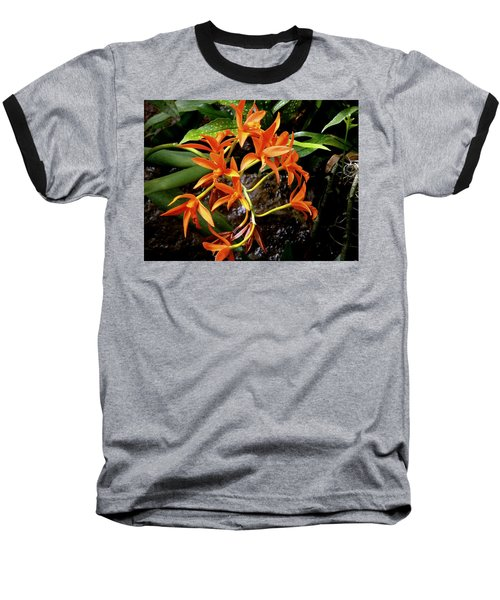 Orange Tendrils Baseball T-Shirt