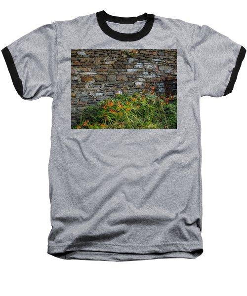 Orange Wildflowers Against Stone Wall Baseball T-Shirt