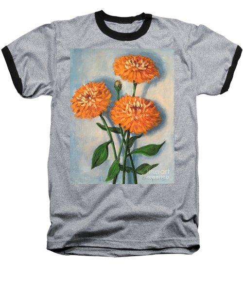 Baseball T-Shirt featuring the painting Orange Zinnias by Randol Burns