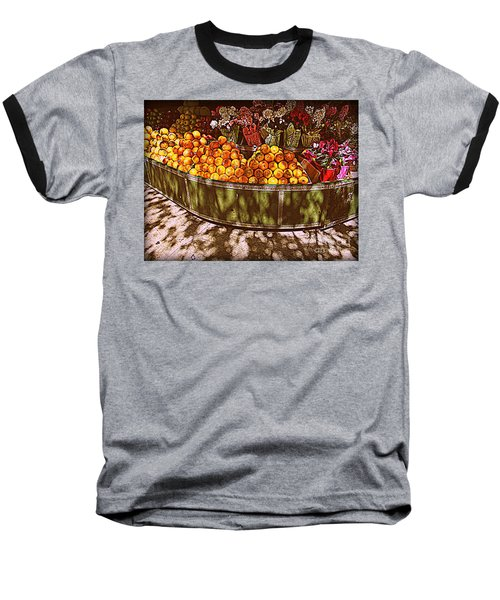 Oranges And Flowers Baseball T-Shirt by Miriam Danar