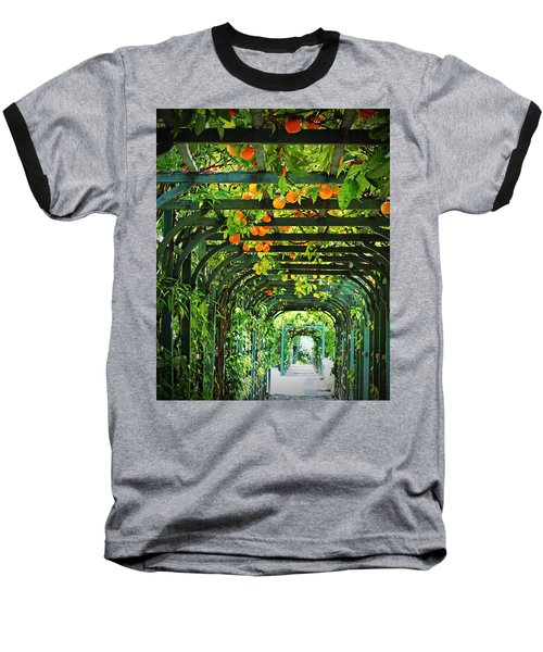 Baseball T-Shirt featuring the photograph Oranges And Lemons On A Green Trellis by Brooke T Ryan