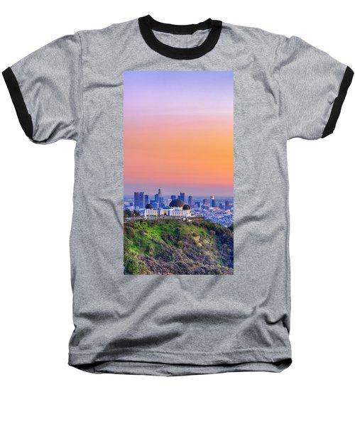Orangesicle Griffith Observatory Baseball T-Shirt