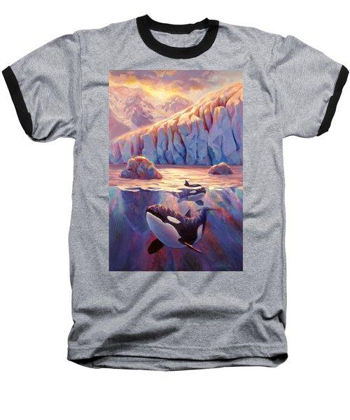 Orca Sunrise At The Glacier Baseball T-Shirt