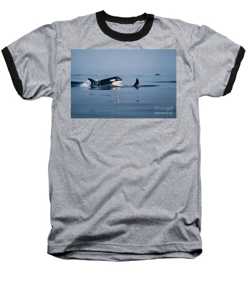 Baseball T-Shirt featuring the photograph Orcas Off The San Juan Islands Washington  1986 by California Views Mr Pat Hathaway Archives