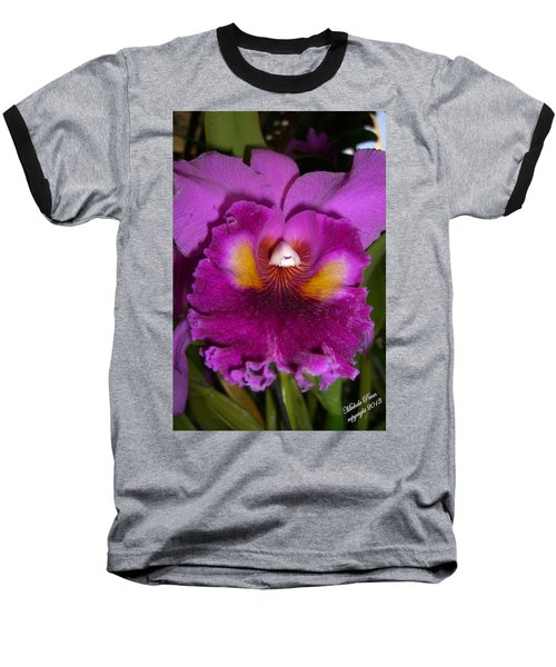 Orchid Flames Baseball T-Shirt