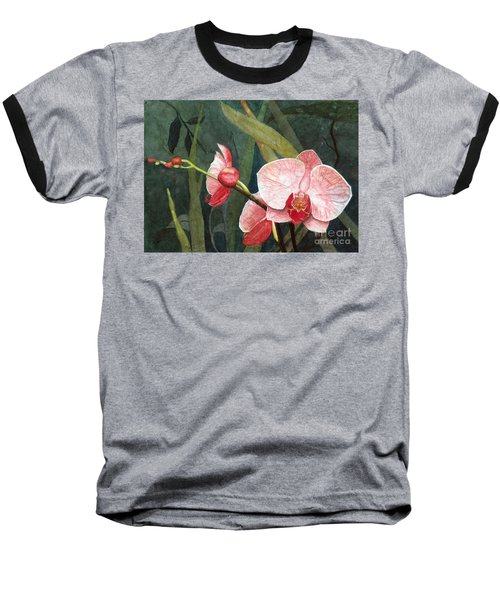 Baseball T-Shirt featuring the painting Orchid Trio 2 by Barbara Jewell