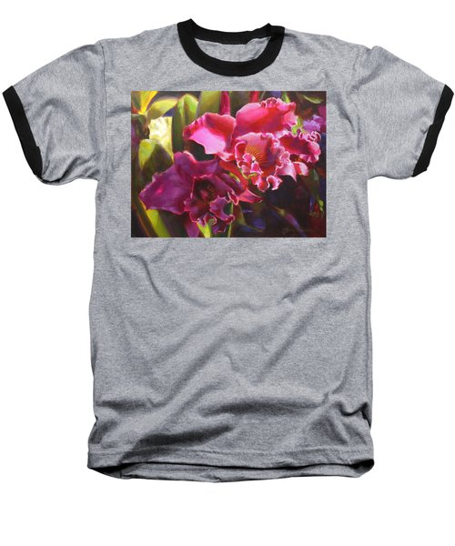 Orchids In Magenta Baseball T-Shirt by Karen Whitworth