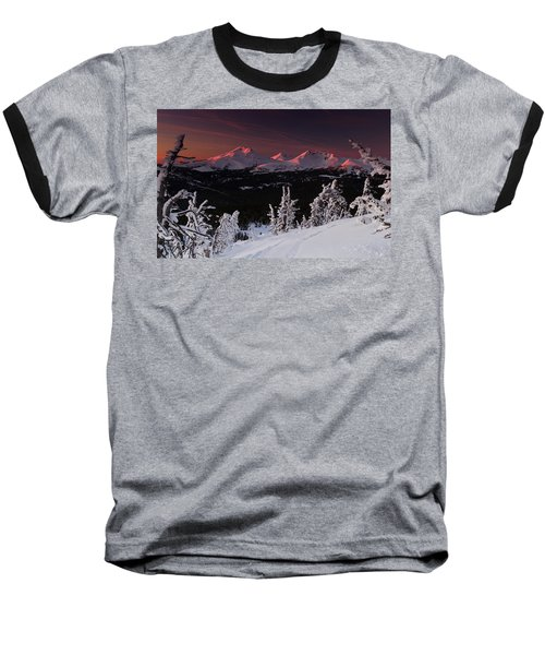 Oregon Cascades Winter Sunset Baseball T-Shirt