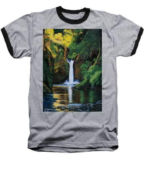 Baseball T-Shirt featuring the painting Oregon's Punchbowl Waterfalls by Sharon Duguay