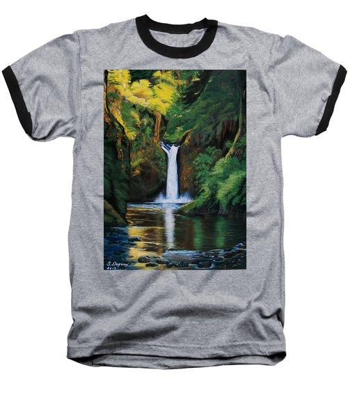 Oregon's Punchbowl Waterfalls Baseball T-Shirt