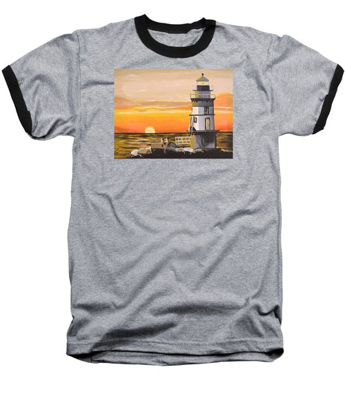 Orient Point Lighthouse Baseball T-Shirt by Donna Blossom