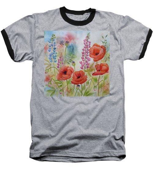 Oriental Poppies Meadow Baseball T-Shirt by Carla Parris