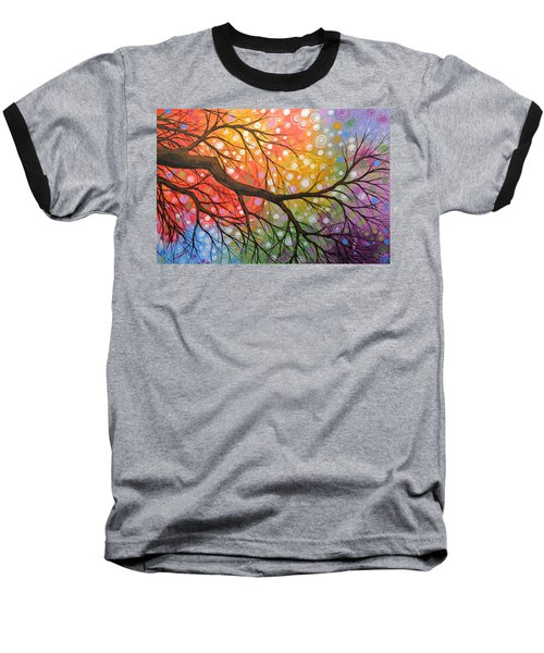 Baseball T-Shirt featuring the painting Original Abstract Painting Landscape Print ... Bursting Sky by Amy Giacomelli