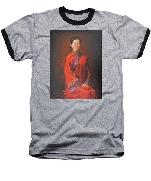 Original Classic Portrait Oil Painting Woman Art - Beautiful Chinese Bride Girl Baseball T-Shirt by Hongtao     Huang