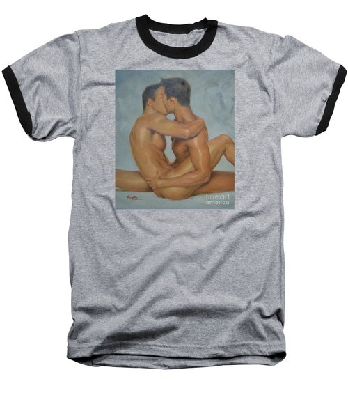 Original Man Oil Painting Gay Body Art- Two Male Nude On Canvas Baseball T-Shirt by Hongtao     Huang