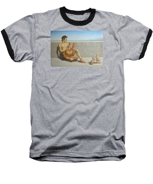 Original Oil Painting Gay Man Art-male Nude And Rabbit#16-02-5-41 Baseball T-Shirt