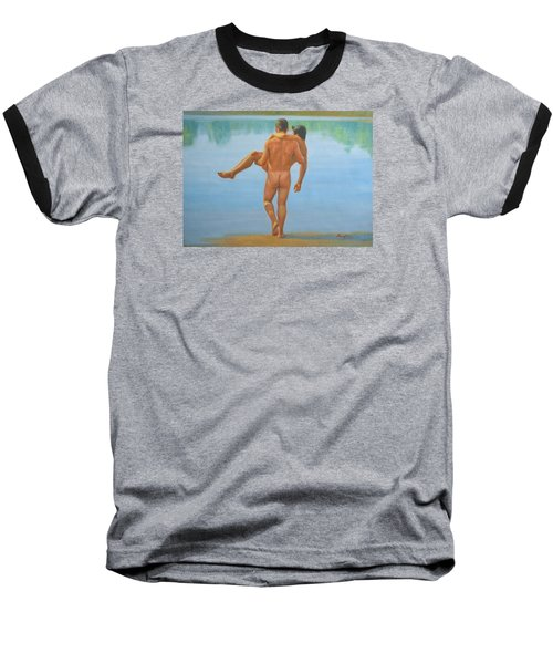 Original Oil Painting Man Body Art -male Nude By The Pool -073 Baseball T-Shirt by Hongtao     Huang