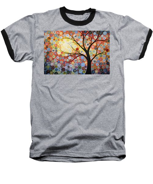 Baseball T-Shirt featuring the painting Original Painting Print Titled Celestial Sunset by Amy Giacomelli
