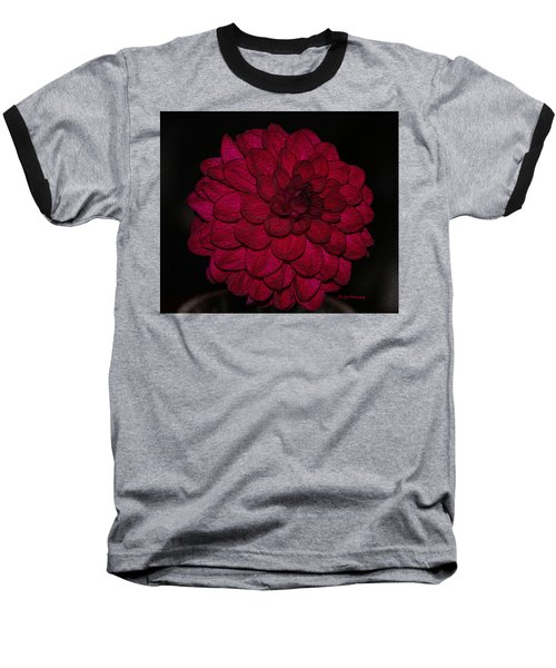 Ornate Red Dahlia Baseball T-Shirt