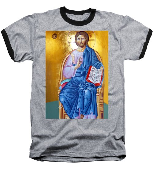 Orthodox Icon Of Jesus In Blue Baseball T-Shirt