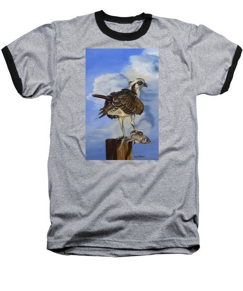Baseball T-Shirt featuring the painting Osprey And A Mullet by Phyllis Beiser