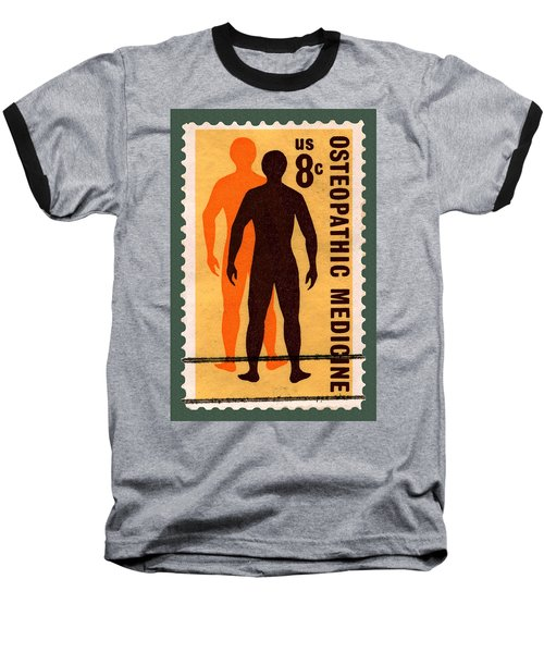 Osteopathic Medicine Stamp Baseball T-Shirt by Phil Cardamone