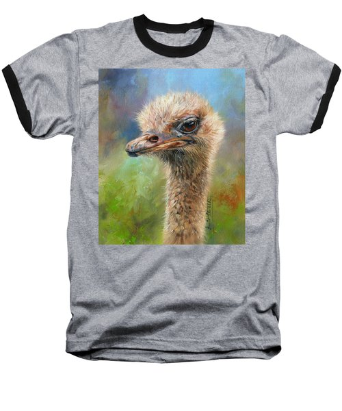 Ostrich Baseball T-Shirt by David Stribbling