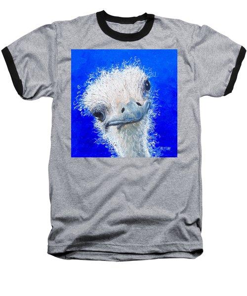 Ostrich Painting 'waldo' By Jan Matson Baseball T-Shirt by Jan Matson