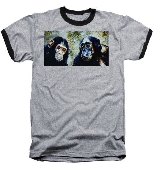 Baseball T-Shirt featuring the painting Our Closest Relatives by Hartmut Jager
