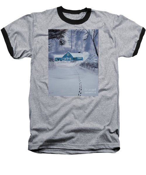 Baseball T-Shirt featuring the painting Our Little Cabin In The Snow by Ian Donley