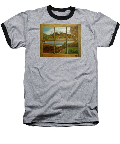 Out My Window-autumn Day Baseball T-Shirt by Sheri Keith