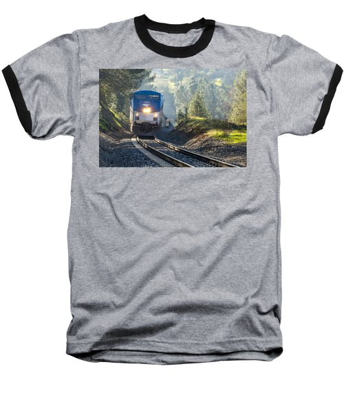 Out Of The Mist Baseball T-Shirt by Jim Thompson