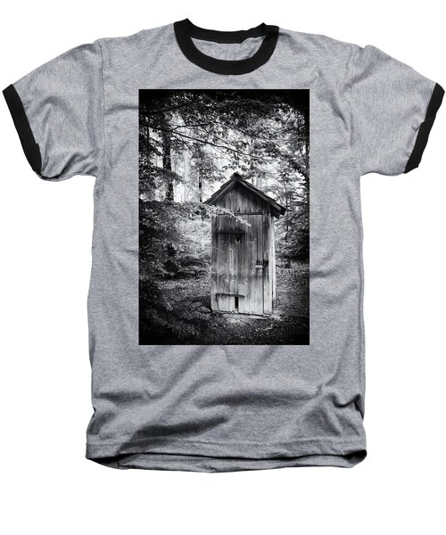 Outhouse In The Forest Black And White Baseball T-Shirt