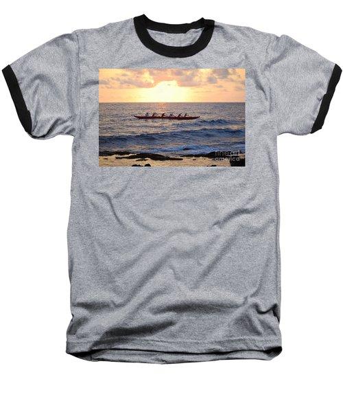 Outrigger Canoe At Sunset In Kailua Kona Baseball T-Shirt by Catherine Sherman