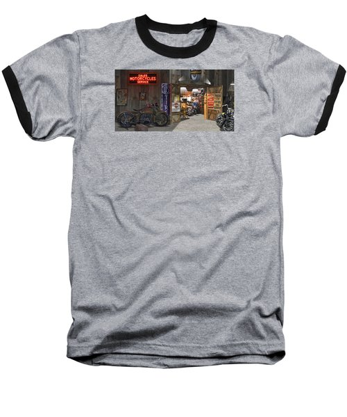 Outside The Motorcycle Shop Baseball T-Shirt by Mike McGlothlen