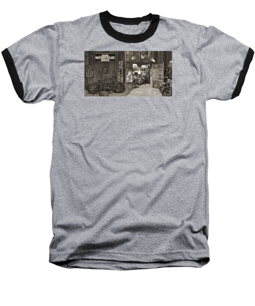 Outside The Old Motorcycle Shop - Spia Baseball T-Shirt by Mike McGlothlen