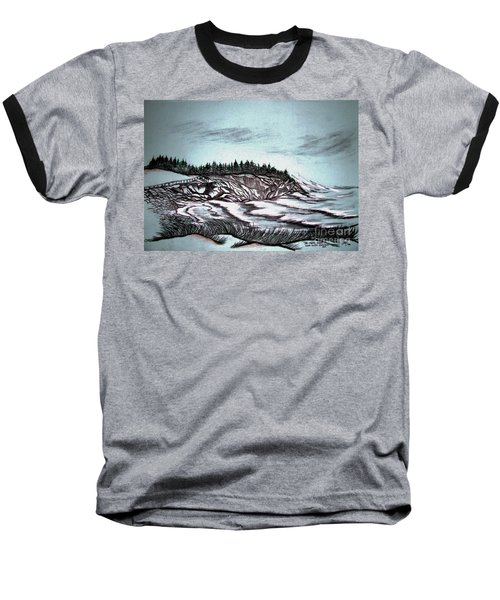 Baseball T-Shirt featuring the drawing Oven's Park Nova Scotia by Janice Rae Pariza