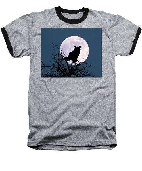 Owl And Blue Moon Baseball T-Shirt