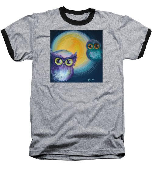 Baseball T-Shirt featuring the painting Owl Be Watching You by Agata Lindquist