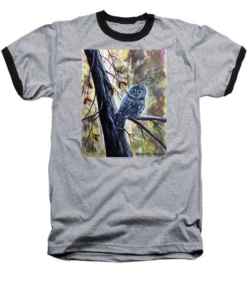 Baseball T-Shirt featuring the painting Owl by Bozena Zajaczkowska