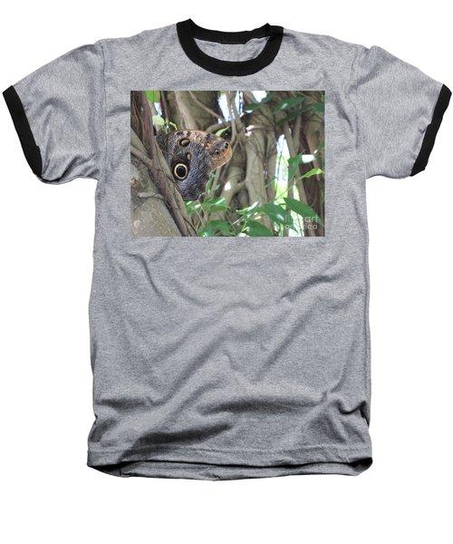 Owl Butterfly In Hiding Baseball T-Shirt