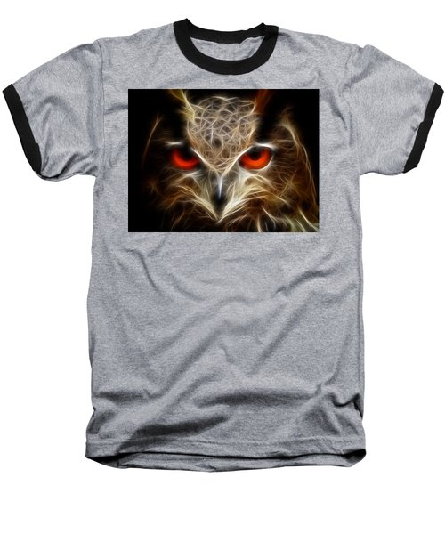 Owl - Fractal Artwork Baseball T-Shirt