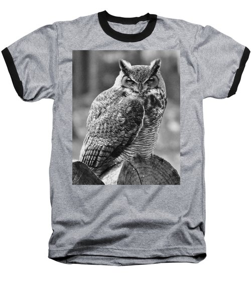 Owl In Black And White Baseball T-Shirt