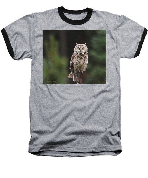 Baseball T-Shirt featuring the photograph Owl In The Forest Visits by Tom Janca