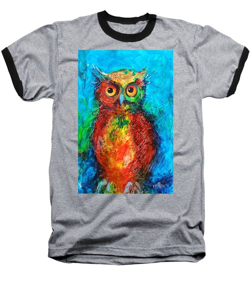 Baseball T-Shirt featuring the painting Owl In The Night by Faruk Koksal